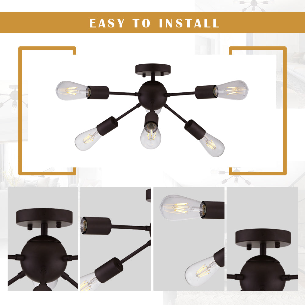 VINLUZ Modern Chandelier Lighting 6 Lights Oil-Rubbed Bronze
