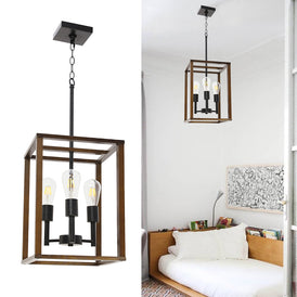 3 Light VINLUZ Wood Metal Chandelier Rustic Industrial Pendant Lighting Dark Walnut with Wood Frame Hanging Light Fixture Adjustable Chain for Kitchen Island Foyer Dining Room