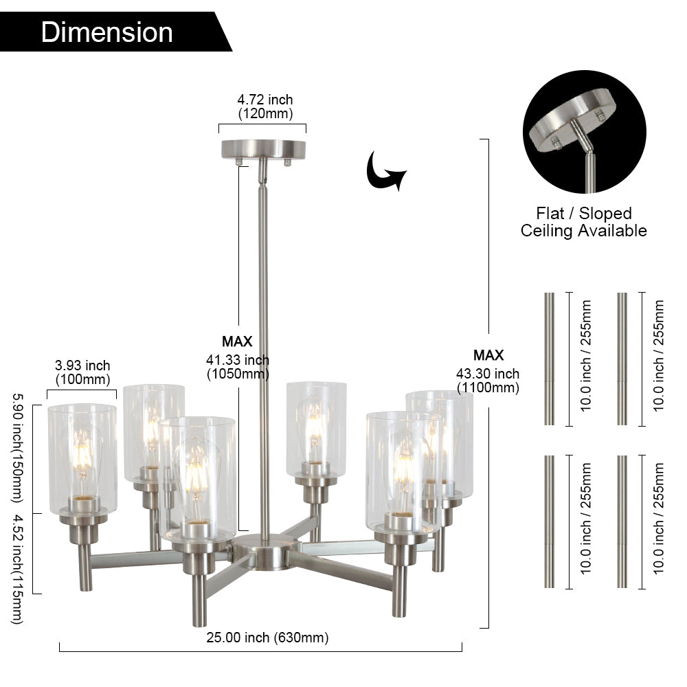VINLUZ 6 Light Contemporary Chandelier Brushed Nickel Modern Pendant Lighting