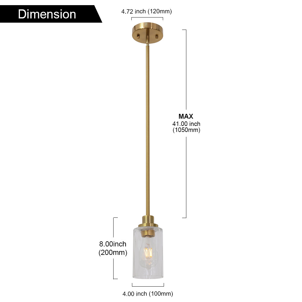 VINLUZ Brass Kitchen Island Light Cylinder Glass