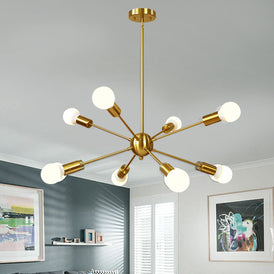 VINLUZ Mid Century Sputnik Chandelier 8 Light Brushed Brass Pendant Lighting