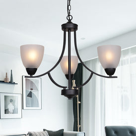 VINLUZ 3 Light Shaded Contemporary Chandeliers with Alabaster Glass Black Rustic