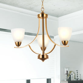 VINLUZ 3 Light Contemporary Chandeliers Brushed Brass Mid Century