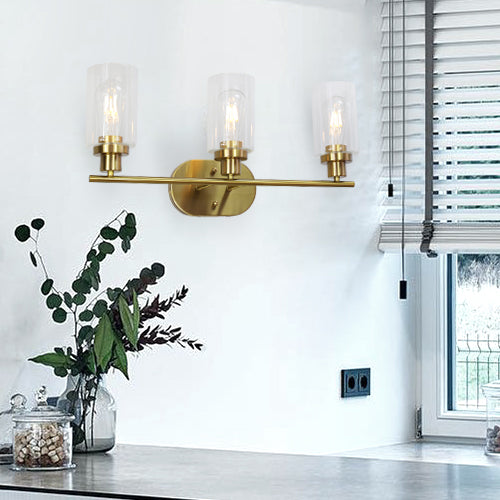 VINLUZ 3 Light Interior Wall Sconce Brushed Brass Elegant Bathroom Lighting