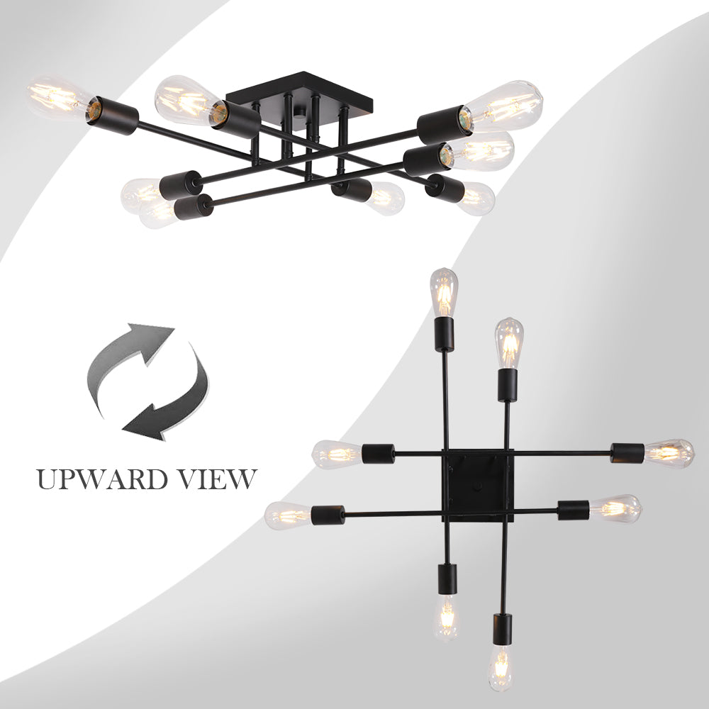 8 Light VINLUZ Black Mid Century Vintage Semi Flush Mount Ceiling Light
