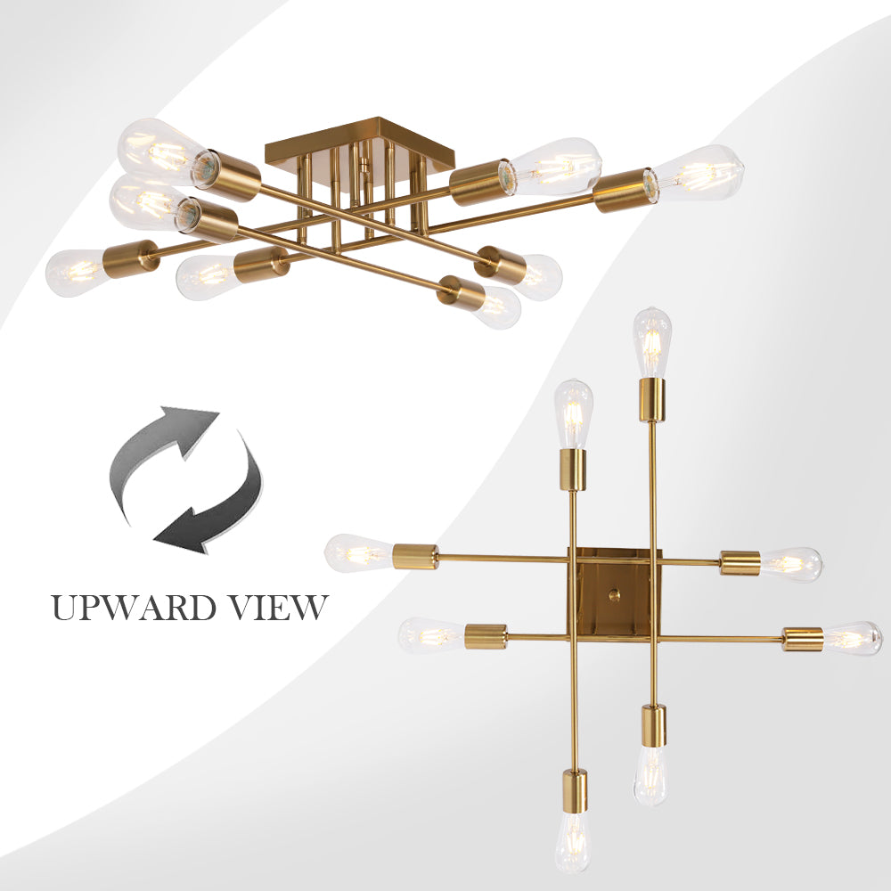 VINLUZ Modern Semi Flush Mount Light 8 Light Brushed Brass