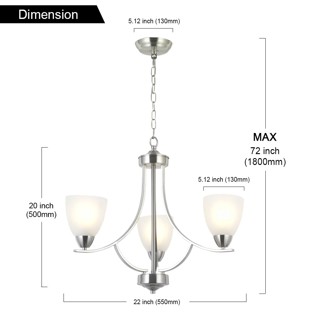 VINLUZ 3 Light Contemporary Chandeliers Brushed Nickel Modern Light Fixtures