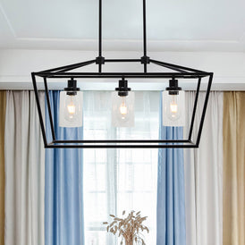 3 Light  Contemporary Kitchen Island Chandelier Matte Black Finish with Clear Glass Shade