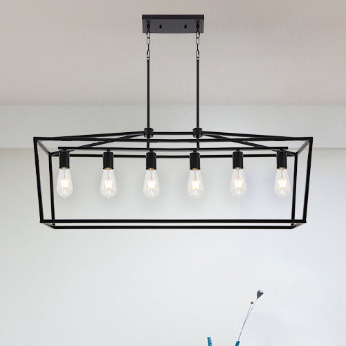6 Light Farmhouse Kitchen Island Dining Room Chandelier Matte Black Metal