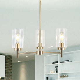 VINLUZ 3 Lights Modern Chandeliers Metal Light Fixtures Ceiling Brushed Brass