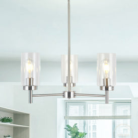VINLUZ 3 Lights Modern Chandeliers Metal Light Fixtures Ceiling Brushed Nickel