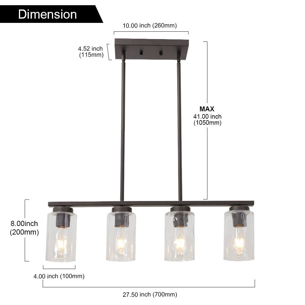 VINLUZ 4 Light Chandeliers for Dining Rooms Oil Rubbed Bronze