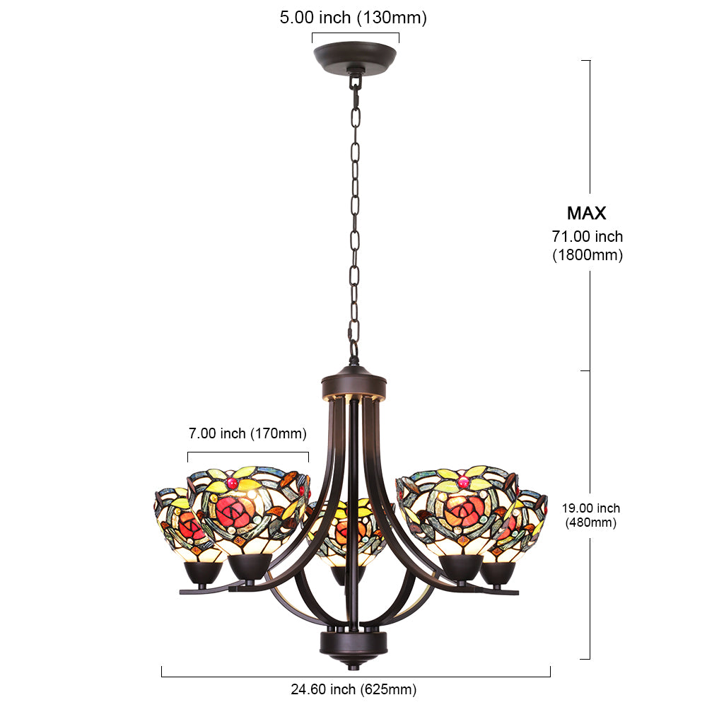 VINLUZ 5 Light Tiffany Chandeliers Lighting Victorian Antique 7-inch Stained Glass Shaded Bronze