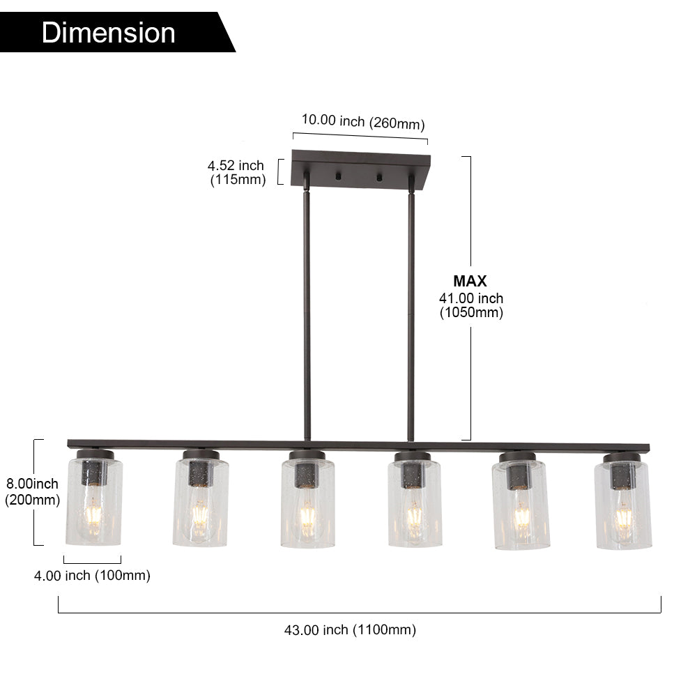 VINLUZ 6 Light Oil Rubbed Bronze Island Hanging Light Kitchen with Seedy Glass Shades