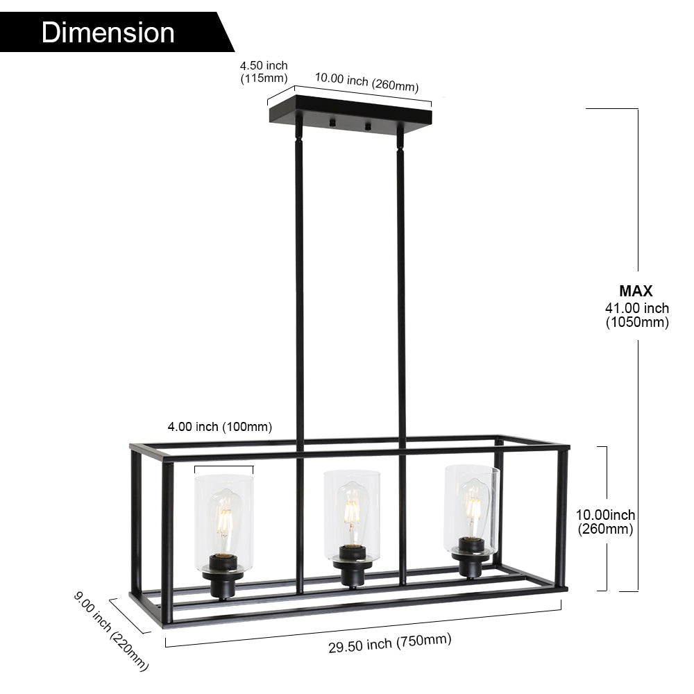 VINLUZ 3 Light Kitchen Island Pendant Lighting Black Contemporary Industrial Linear Chandelier with Clear Glass Shade
