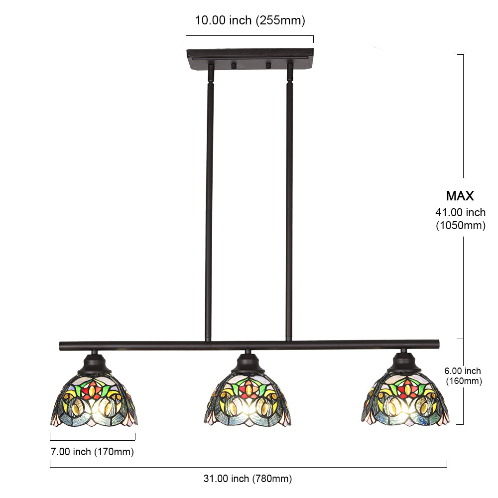 VINLUZ Tiffany Chandeliers 3 Light Fixture Pendant 7.5-inch Shade Multi-Colored
