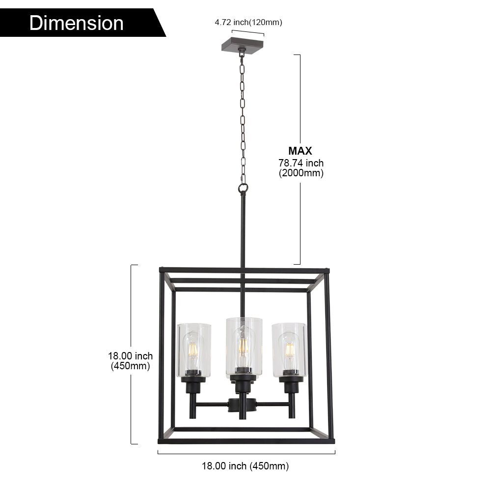 VINLUZ 4 Light Hanging Lantern Pendant Light Black Industrial Cage Chandelier with Clear Glass Shade
