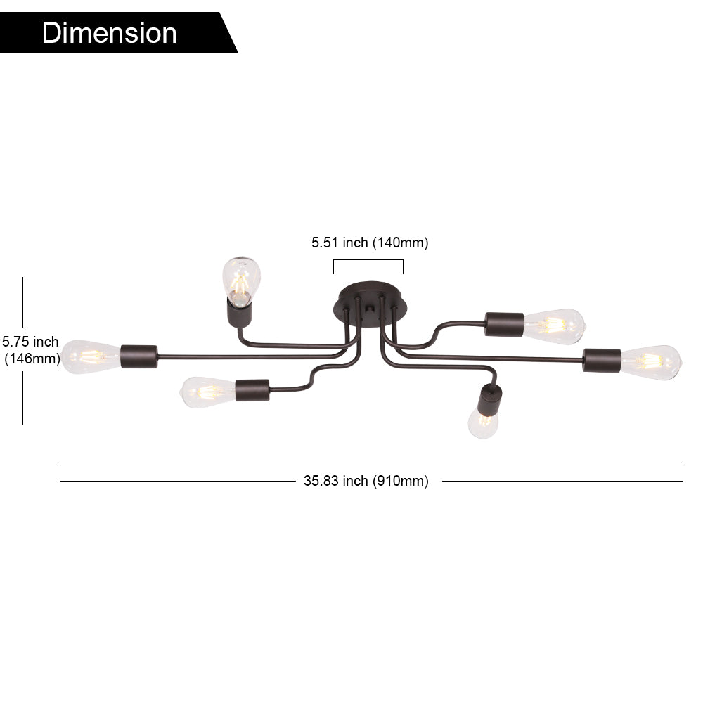 VINLUZ Metal Art 6 Lights Semi Flush Mount Ceiling Light Oil-Rubbed Bronze