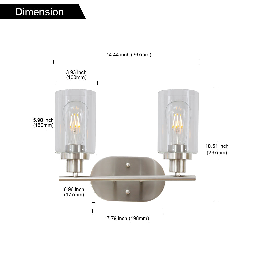 2 Light VINLUZ Bathroom Vanity Light Brushed Nickel Wall Sconce