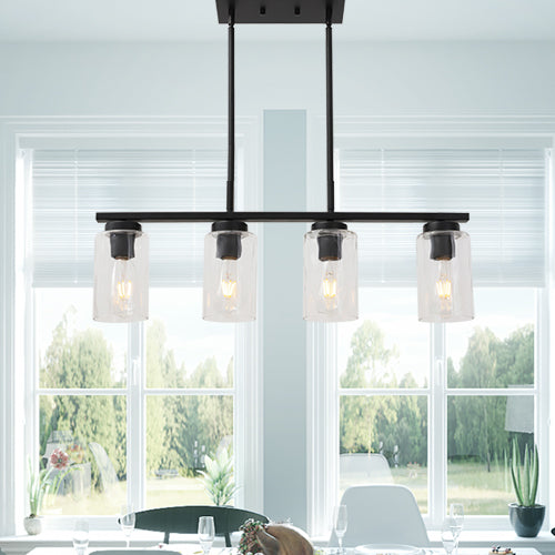 VINLUZ 4 Light Black Kitchen Island Lighting