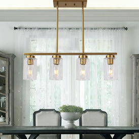VINLUZ 4 Light Brushed Brass Modern Dining Room Chandelier Fixture with Cylinder Glass