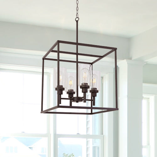 VINLUZ Classic 4 Light Farmhouse Pendant Lighting Oil Rubbed Bronze Finish with Clear Glass Shade