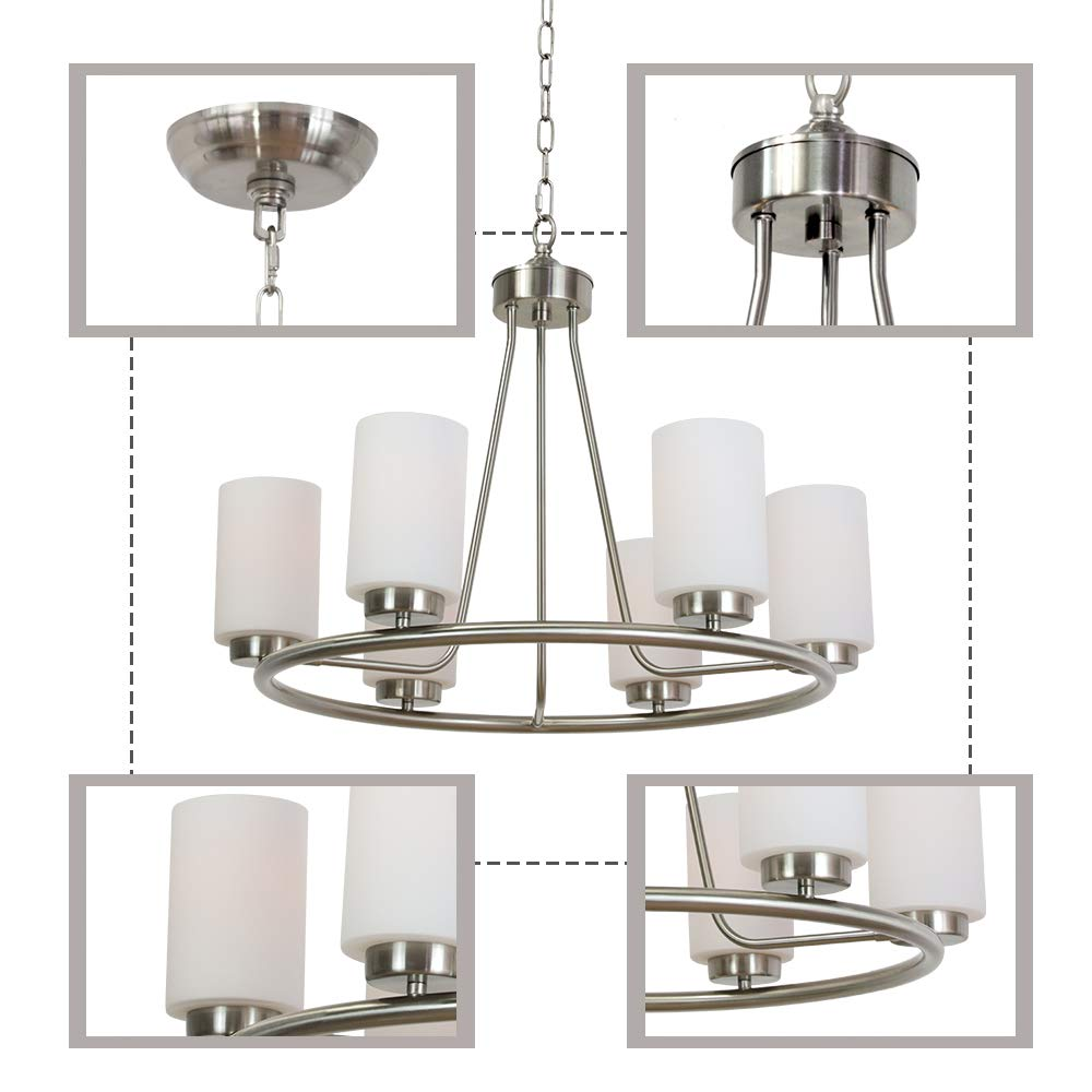 VINLUZ 6 Light Farmhouse Brushed Nickel Round Chandelier with Opal White Cylinder Glass Shades