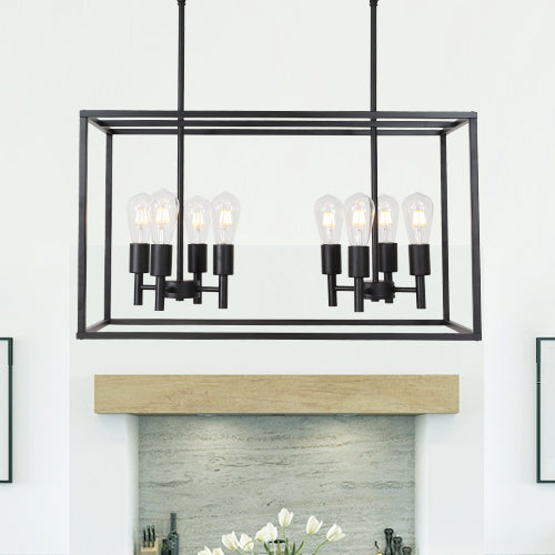 VINLUZ 8 Light Farmhouse Island Pendant Hanging Lighting Black Kitchen Light Fixture