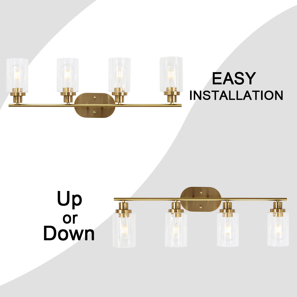 VINLUZ 4 Light Vanity Lights with Clear Glass Shade Brushed Brass Indoor Wall Sconce