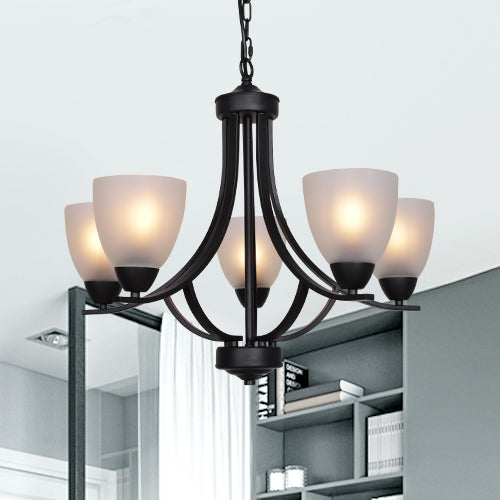 VINLUZ 5 Light Shaded Contemporary Chandeliers with Alabaster Glass Black Rustic