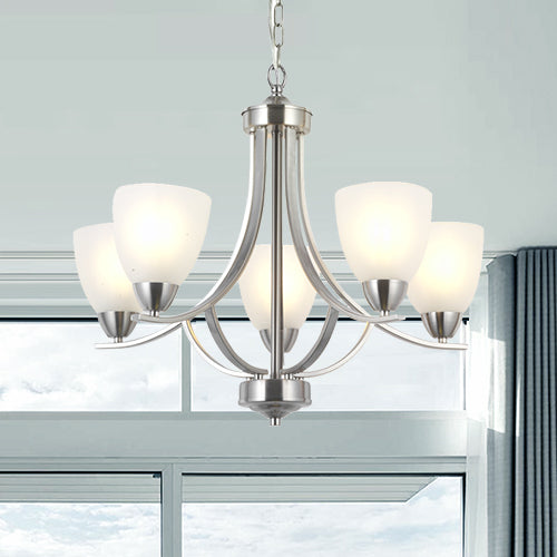 VINLUZ 5 Light Contemporary Chandeliers Brushed Nickel Modern Light Fixtures