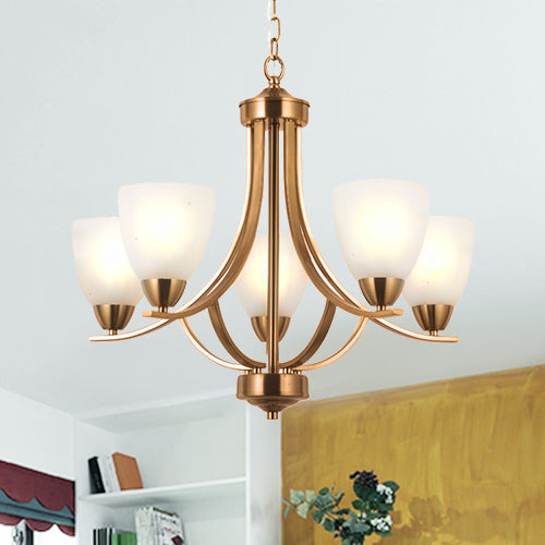VINLUZ 5 Light Contemporary Chandeliers Brushed Brass Modern Ceiling Light Fixtures