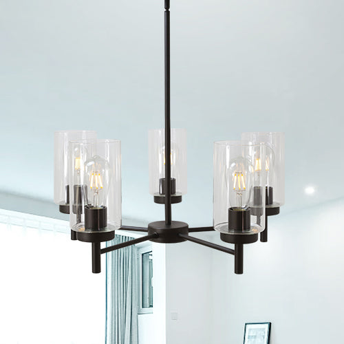 VINLUZ Contemporary 5-Light Large Chandeliers Oil Rubbed Bronze