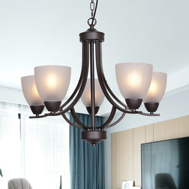 VINLUZ 5 Light Shaded Contemporary Chandeliers with Alabaster Glass Oil Rubbed Bronze