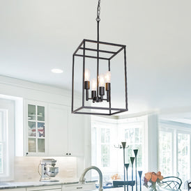 VINLUZ 4 Light Large Industrial Metal Farmhouse Pendant Light Black