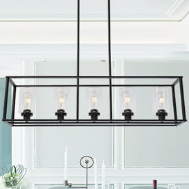 VINLUZ Pendant Lighting 1-Light Chrome Finished Square Modern Dining Room Lighting Fixture Hanging Ceiling with Clear Glass Shade Contemporary Mini Chandeliers Ceiling Lamp for Kitchen Island Hallway