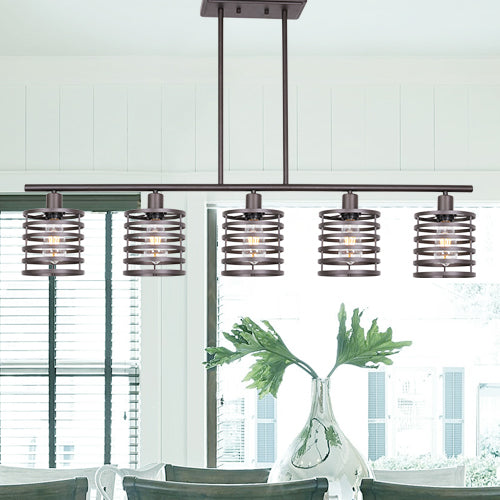 VINLUZ 5 Light Contemporary Linear Chandelier Oil Rubbed Bronze Metal Cage Table Light