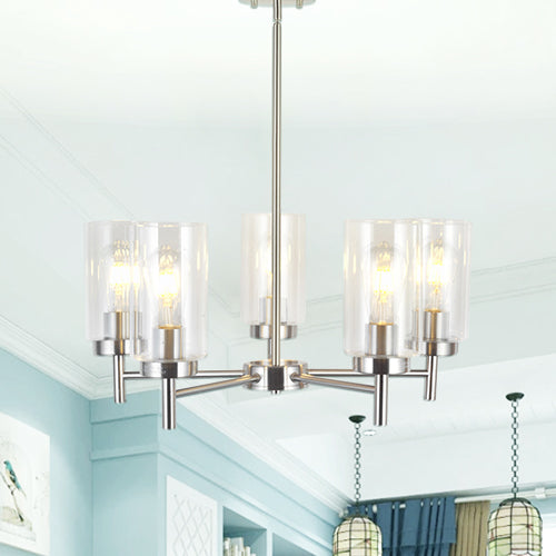 VINLUZ Contemporary 5-Light Large Chandeliers Modern Clear Glass Shades Brushed Nickel