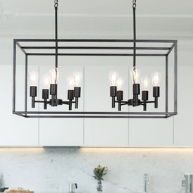 VINLUZ 10 Lights Kitchen Island Pendant Lighting Black Farmhouse Industrial Chandelier