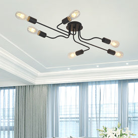 VINLUZ 6 Lights Semi Flush Mount Ceiling Light Modern Metal Art  Black