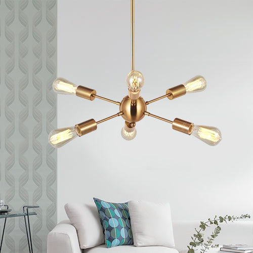VINLUZ Modern Sputnik Chandelier 6 Lights Italian Designed Brushed Brass
