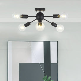 VINLUZ Sputnik Chandelier Lighting 6 Lights Black Modern Ceiling Light