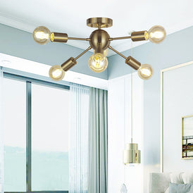 VINLUZ Sputnik Chandelier Lighting 6 Lights Brass Modern Ceiling Light