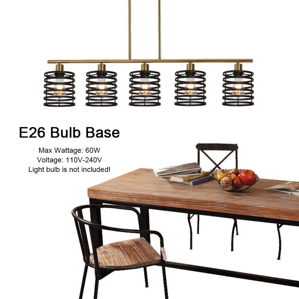 VINLUZ 5 Lights Modern Chandeliers Black and Brushed Brass Contemporary Kitchen Island Light