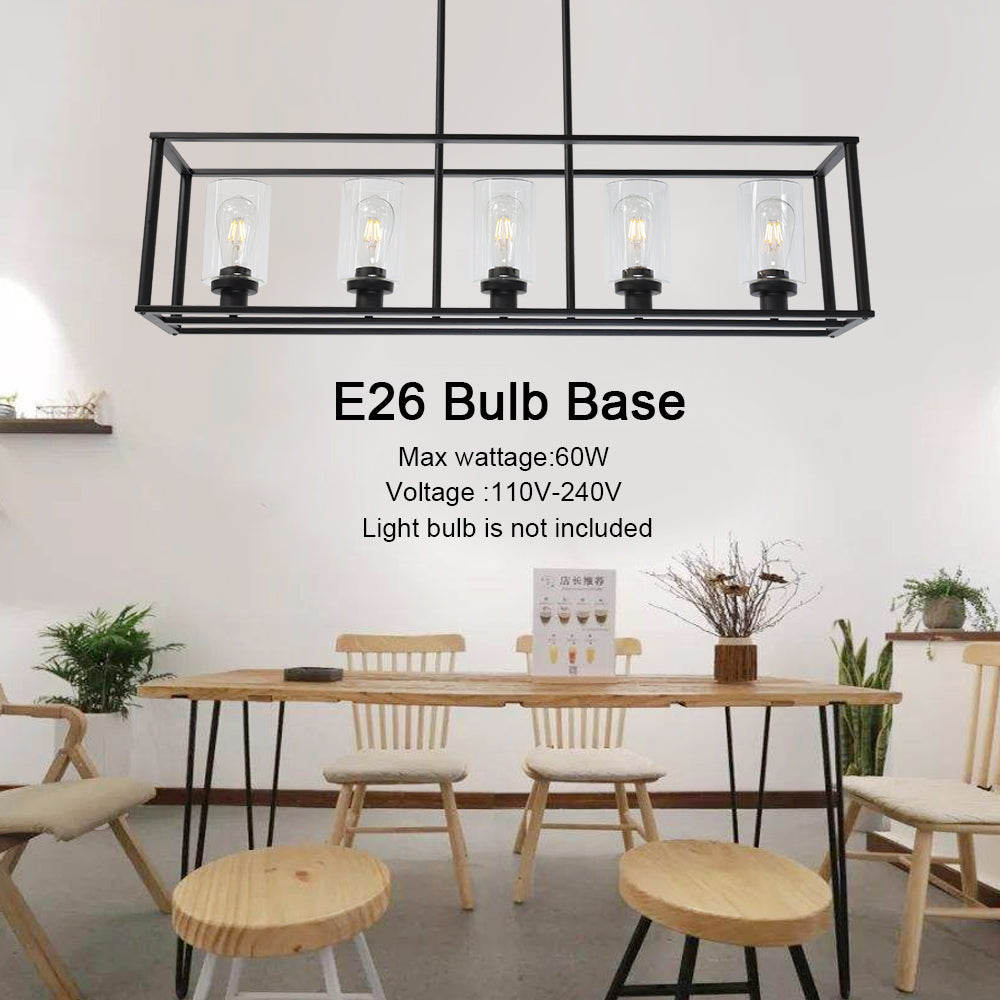 5 Light VINLUZ Modern Linear Kitchen Island Chandelier Black Finish with Clear Glass Shade Cage Pendant Ligh Hanging