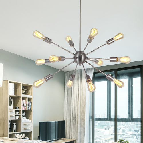 VINLUZ Modern Sputnik Chandelier Lighting 12 Lights Italian Designed Brushed Nickel