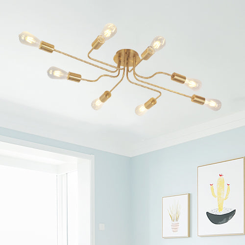 VINLUZ 8 Lights Sputnik Chandelier Gold Semi Flush Mount Ceiling Light Brushed Brass