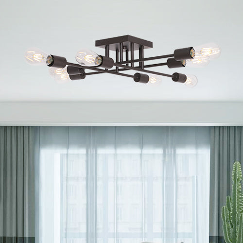 VINLUZ 8 Light Oil-Rubbed Bronze Antique Style Semi Flush Mount Ceiling Light