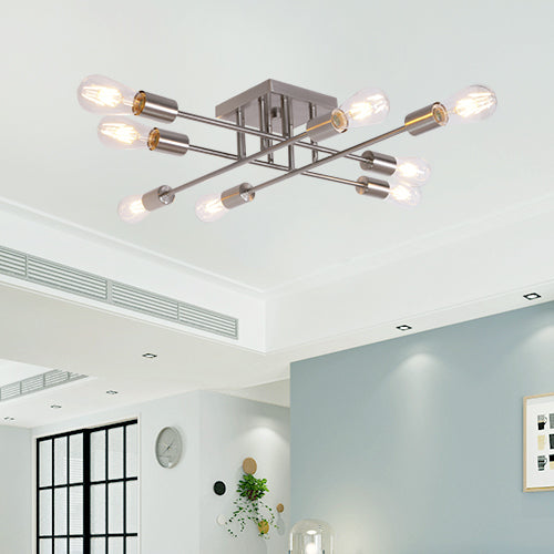 8 Light VINLUZ Industrial Semi Flush Mount Ceiling Light Brushed Nickel