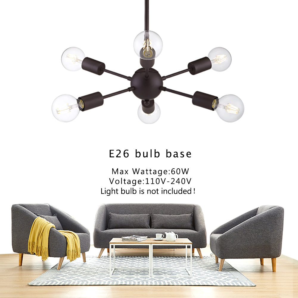 VINLUZ Modern Sputnik Chandelier Lighting 6 Lights Oil-Rubbed Bronze